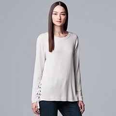 Petites Simply Vera Vera Wang Tie-Sleeve French Terry Sweatshirt
