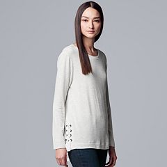 Petites Simply Vera Vera Wang Tie-Sleeve French Terry Sweatshirt