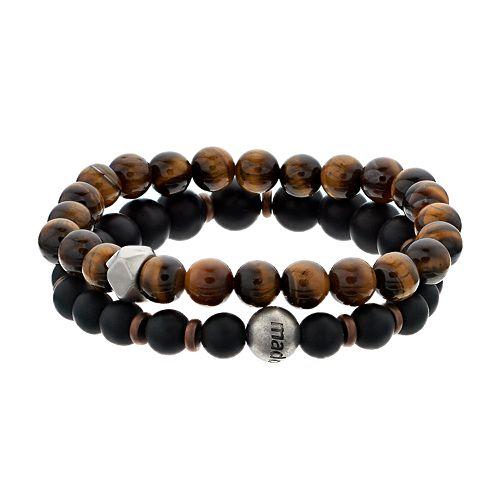 Men's 2-Piece Tiger's Eye & Glass Bead Bracelet Set