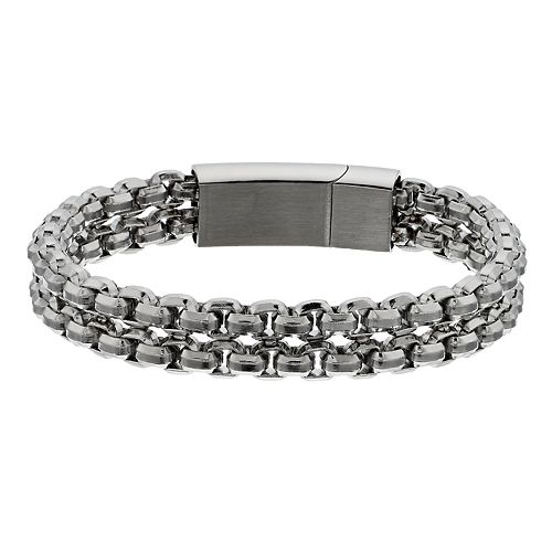 Men's Double Strand Stainless Steel Chain Bracelet