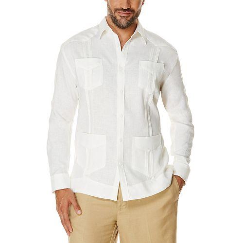 Men's Cubavera Classic-Fit Linen 4-Pocket Guyabera Long-Sleeved Button-Down Shirt