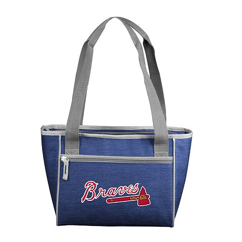 Logo Brand Atlanta Braves Crosshatch 16-Can Cooler Tote