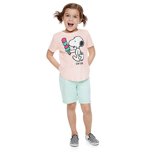 Girls 4-7 Family Fun™ Peanuts Snoopy Waves & Rays Graphic Tee
