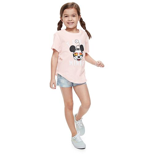"""Disney's Minnie Mouse Girls 4-7 """"Team Minnie"""" Graphic Tee by Family Fun™"""
