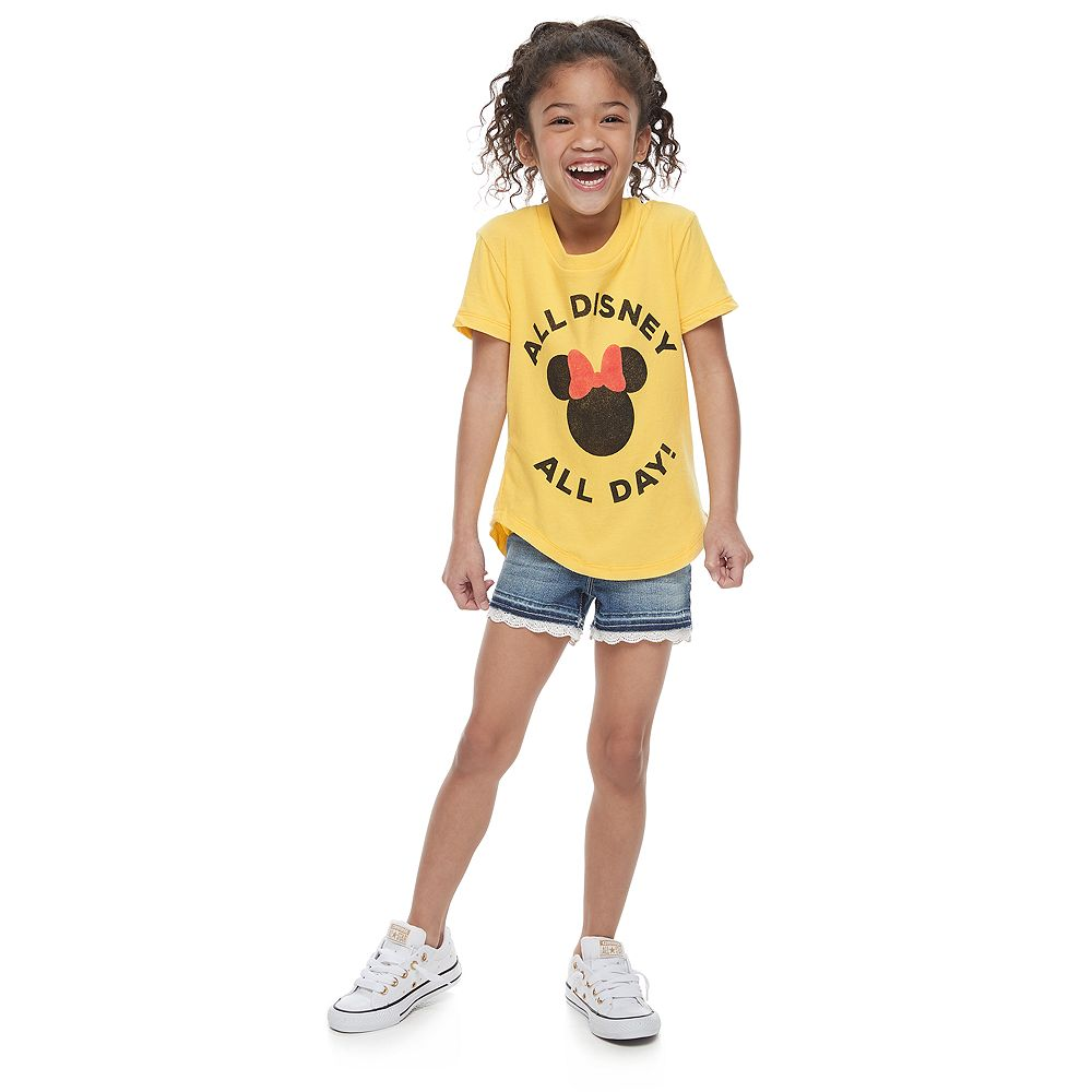 """Disney's Minnie Mouse Girls 4-7 """"All Disney All Day"""" Graphic Tee by Family Fun™"""