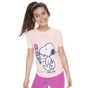 Girls 7-16 ??????????Family Fun Peanuts Snoopy Waves & Rays Graphic Tee