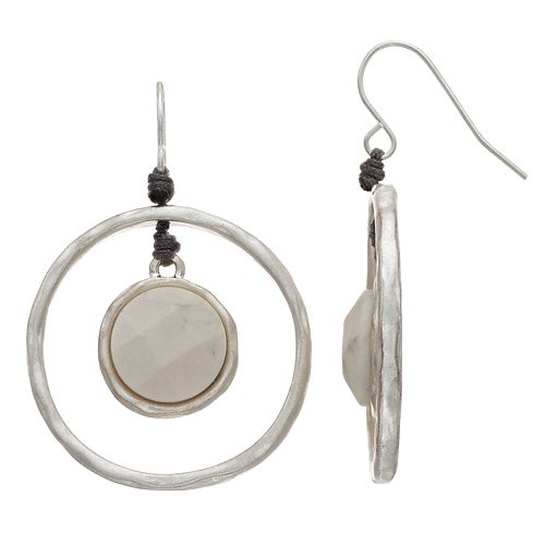 Bella Uno Circle Howlite Drop Earrings