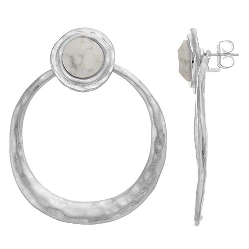 Bella Uno Circle Stud Howlite Earrings