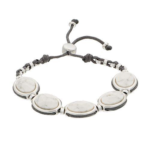 Bella Uno Oval Howlite Bolo Bracelet