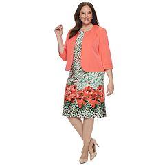 Plus Size Maya Brooke Floral Shift Dress & Jacket Set