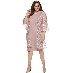 Plus Size Maya Brooke Lace Duster & Shift Dress Set