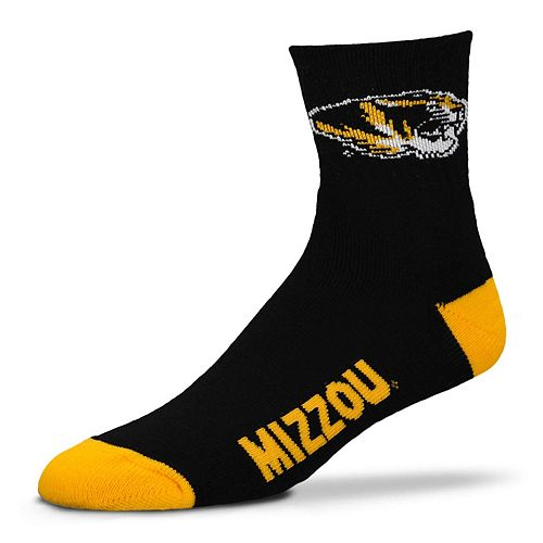 Adult For Bare Feet Missouri Tigers Team Color Quarter-Crew Socks