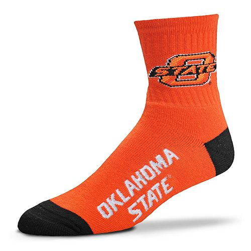 Adult For Bare Feet Oklahoma State Cowboys Team Color Quarter-Crew Socks