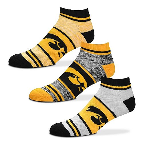 Adult For Bare Feet Iowa Hawkeyes 3-Pack Low-Cut Socks