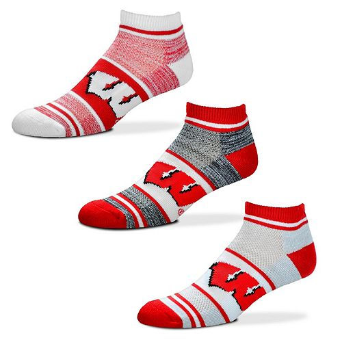 Adult For Bare Feet Wisconsin Badgers 3-Pack Low-Cut Socks