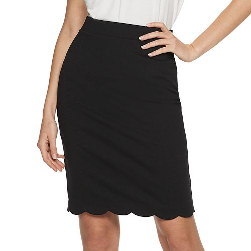 Women's ELLE™ Scalloped Pull-On Pencil Skirt