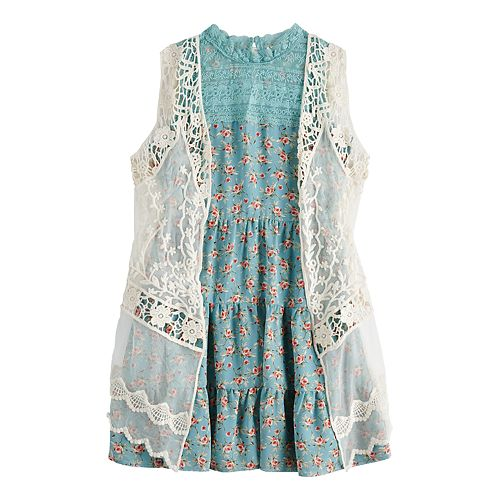 Girls' 7-16 knit works Ruffle Dress & Lace Cardigan Set