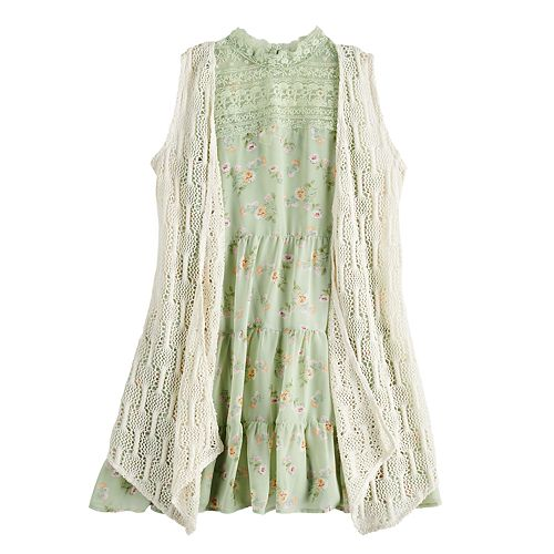 Girls' 7-16 knit works Ruffle Dress & Lace Cardigan Set