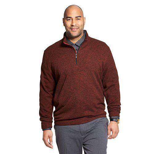 Big & Tall Van Heusen Flex Fleece Quarter-Zip Pullover