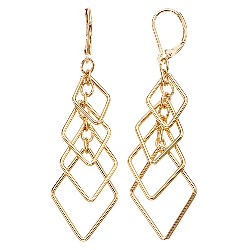 Simply Vera Vera Wang Diamond Shape Layered Drop Earrings