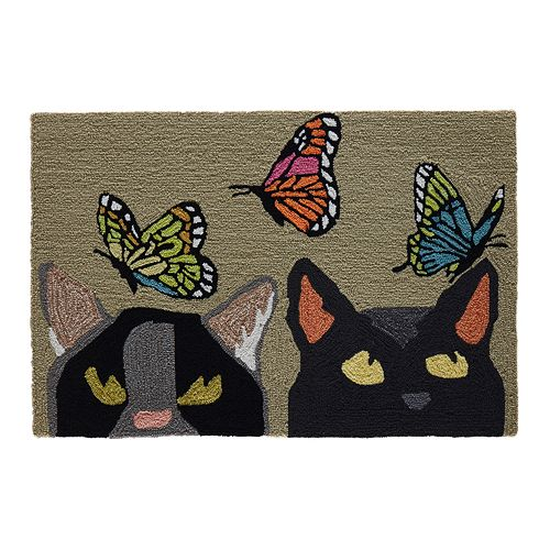 Liora Manne Frontporch Cats and Butterflies Indoor Outdoor Rug