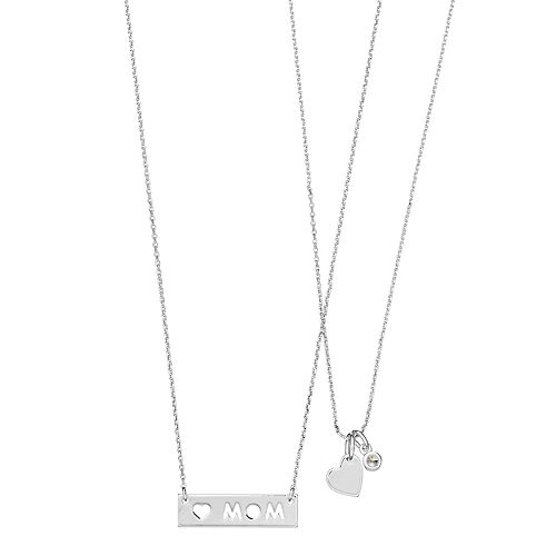 Cubic Zirconia Heart and Mom Necklace Set