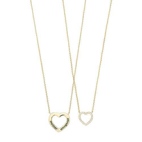Cubic Zirconia Mother Daughter Heart Necklace Set