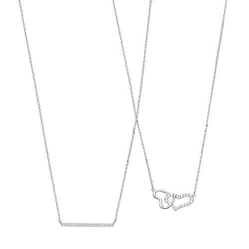 Cubic Zirconia Double Heart Necklace Set