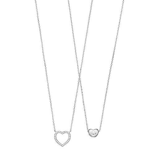 Cubic Zirconia Heart Necklace Set