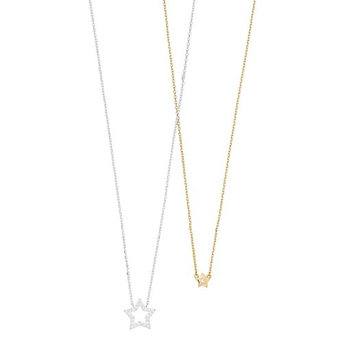 Two Tone Cubic Zirconia Star Necklace Set
