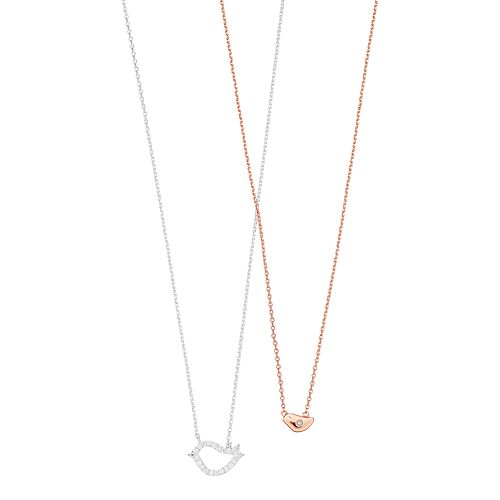 Two Tone Cubic Zirconia Bird Necklace Set
