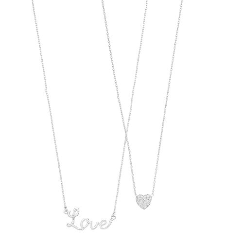 Cubic Zirconia Love & Heart Necklace Set