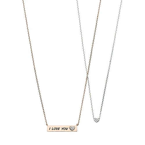 """Two Tone Cubic Zirconia """"I Love You"""" Bar Necklace Set"""