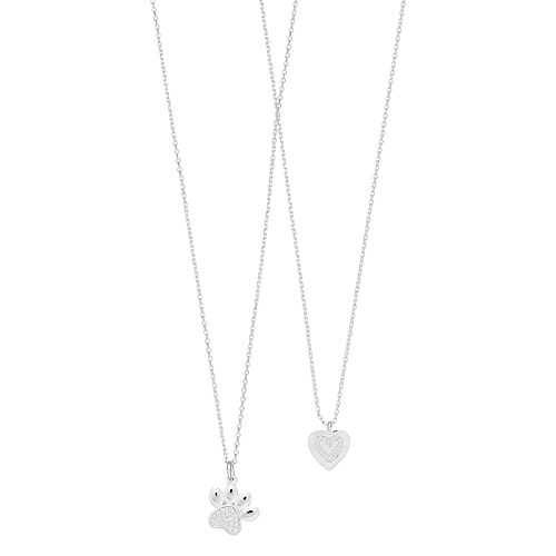 Cubic Zirconia Paw & Heart Necklace Set