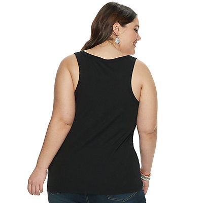 Juniors' Plus Size SO® Ribbed Henley Tank Top