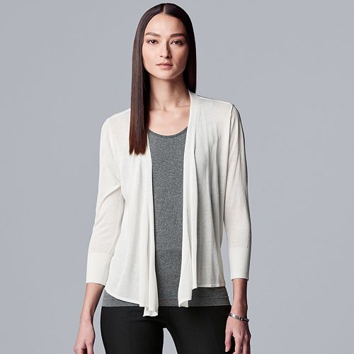 Women's Simply Vera Vera Wang Tie-Front Mesh Cardigan