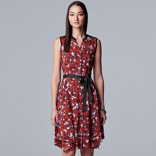 Women's Simply Vera Vera Wang Sleeveless Shirt Dress