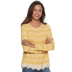 NEW! Juniors' Rewind Long Sleeve Smocked Crochet Trim Top
