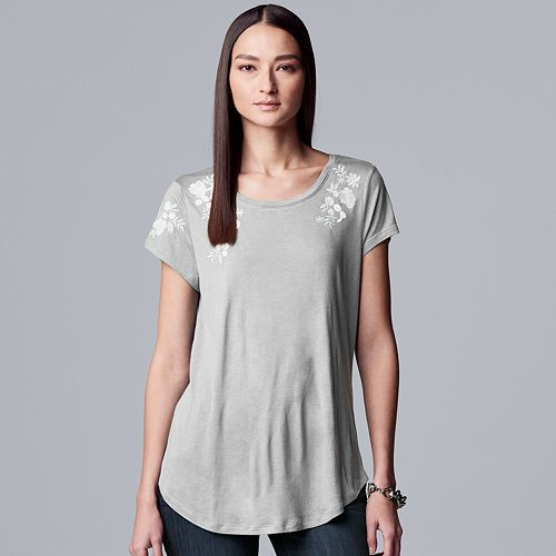 Women's Simply Vera Vera Wang Floral Embroidery Tee