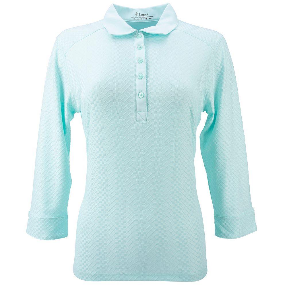 Plus Size Nancy Lopez 3/4 Sleeve Textured Polo