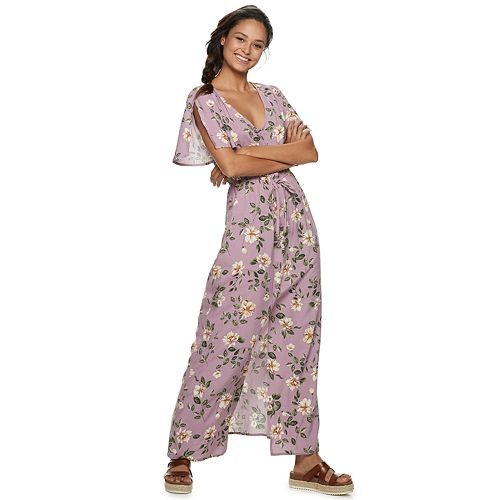 Juniors' Live To Be Spoiled Button Front Floral Print Maxi Dress