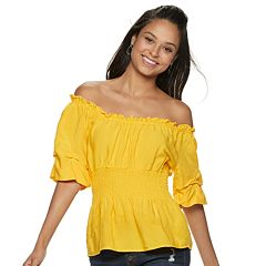 NEW! Juniors' Crave Fame Elbow Sleeve Smocked Waist Top