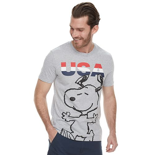 "Men's Family Fun Peanuts Snoopy ""USA"" Graphic Tee"