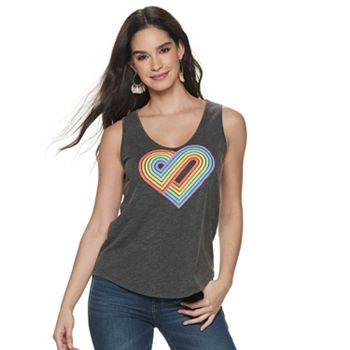 Women's Rock & Republic Rainbow Heart Graphic Tank