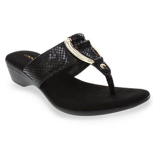 London Fog Naples Women's T-Bar Wedge Sandals