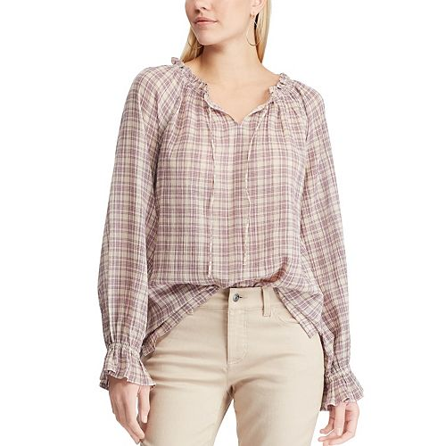Women's Chaps Plaid Crinkle Peasant Top