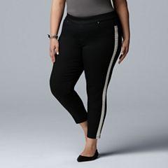 62ee69ae0c479 Women's Plus Size Simply Vera Vera Wang Denim Tuxedo Capri & Skimmer Pants