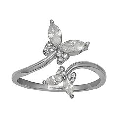 PRIMROSE Sterling Silver Cubic Zirconia Butterfly Ring