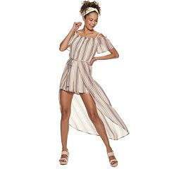 NEW! Juniors' Lily Rose Off The Shoulder Walk Through Maxi Romper