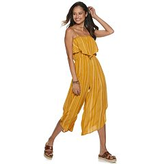 Juniors' Almost Famous Dolphin Hem Flounce Jumpsuit